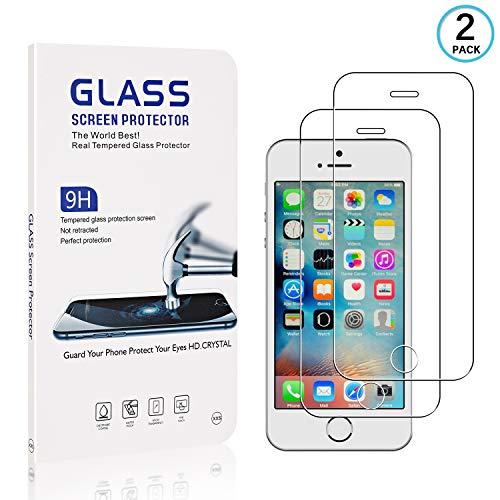 FCLTech Displayschutzfolie für iPhone SE/iPhone 5 / iPhone 5s, 2 Stück Blasenfrei Anti-Kratzen Kompatibel mit iPhone SE/iPhone 5 / iPhone 5s Schwarz, Premium-Qualität, Blasenfreies