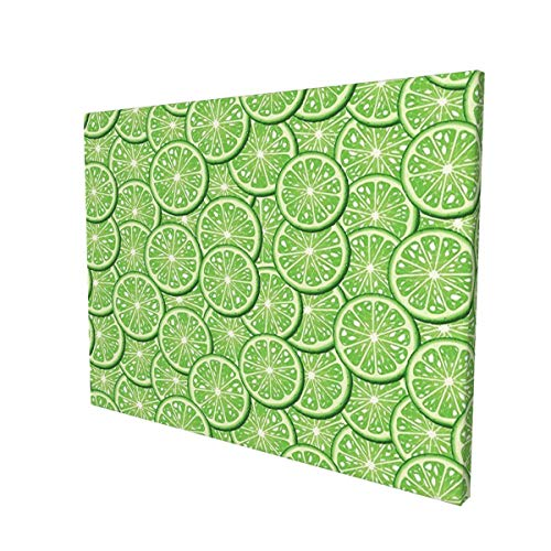 Hat&C Food Decor Bunch Of Sliced Limes Background Yummy Fruit Fresh Tropical Vitamin Picture Fern Greenpainting 12' X 16' Panoramic Canvas Wall Art