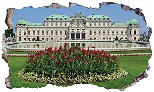 Chicbanners Belvedere Palace Vienna 3D V101 - Adhesivo decorativo para pared (1000 mm de ancho x 600 mm de profundidad)