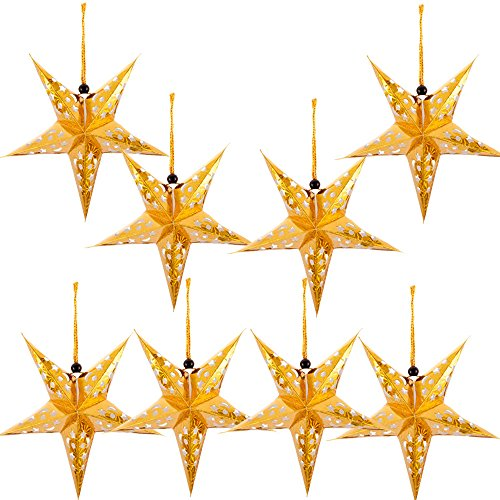 Paper Star Lantern Lampshade Hanging Christmas Xmas Day Decoration for LED Light Wedding Birthday Party Home Decor 8 Pcs 28cm Hollow Out Design (Lights not Included) (Gold)