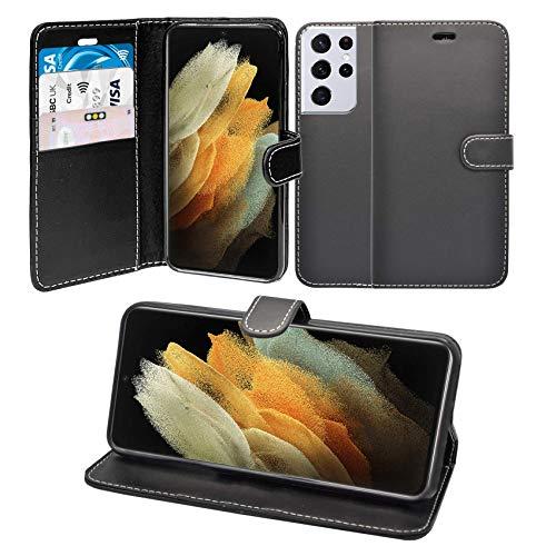 Funda para Galaxy S21 Ultra 5G Libro Cartera Soporte Cuero De PU Tarjeta Ranura Funda Compatible con Funda para Teléfono - Negro