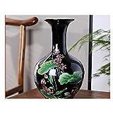 LONGJUAN-C Cerámica China Moderna del Peony Vase Arrangement artículos for Las estatuas de la Sala Decorationsblack Lotus Porcelana