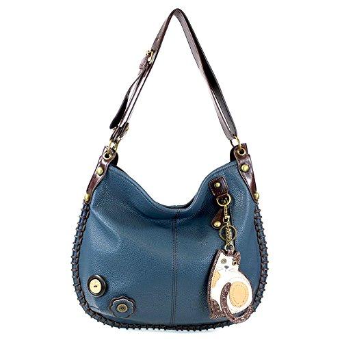 CHALA Crossbody Handbag, Hobo Style, Casual, Soft, Large Bag Shoulder or Crossbody - Cat-Navy