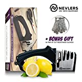 Nevlers 4 IN 1 Knife Sharpener - Preps, Repairs, Sharpens, and Polishes Most Knives with the Diamond, Ceramic, and Tungsten Steel Blades + Scissor Slot - BONUS 2 Cut Resistant Gloves Included