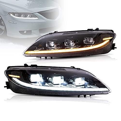 VLAND Faros LED compatibles para mazda6 GY GG 2002-2007 luces delanteras, DRL con luz de respiración, luz de giro con secuencial