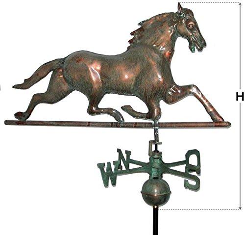 Wetterfahne Pferd in Kupfer gewölbt cm H 75 x L 87