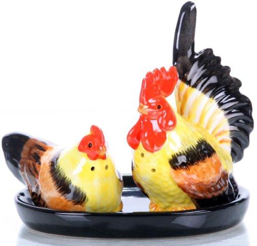 Salz und Pfefferstreuer , Salz und Pfefferstreuer Set , Keramik , Hühner auf schwarzen Unterteller