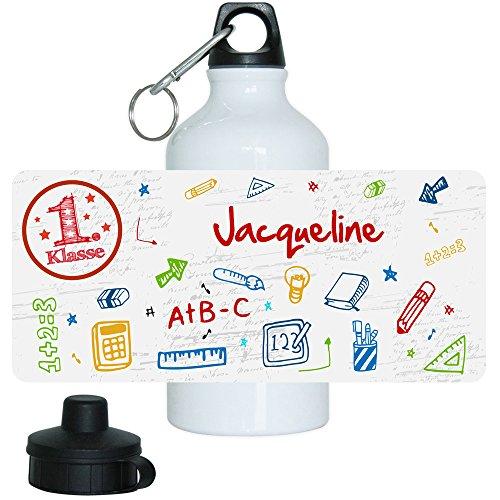 Eurofoto Trinkflasche mit Namen Jacqueline und 1. Klasse-Motiv für Mädchen, aus Aluminium