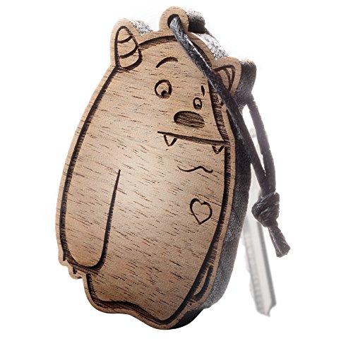 Premium schenkYOU Schlüsselanhänger aus Nussbaumholz vorgraviert Kuschelmonster - personalisierte Geschenkidee