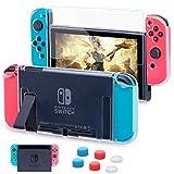 HEYSTOP Nintendo Switch Hülle mit Schutzfolie, Transparent Schutzhülle für Nintendo Switch Zubehör mit Switch Schutzfolie und Griff Cover Case Stoßdämpfung und Anti-Scratch