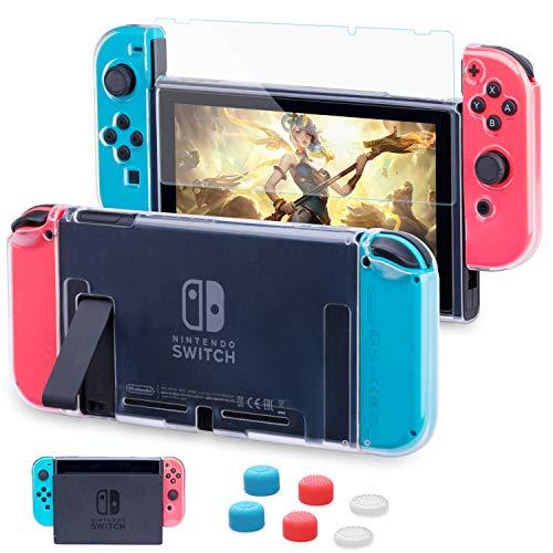 HEYSTOP Custodia Compatibile con Nintendo Switch, Cover Protettiva Trasparente e Switch Pellicola Protettiva Utilizzabile nel Dock con 6 Copri Analogico