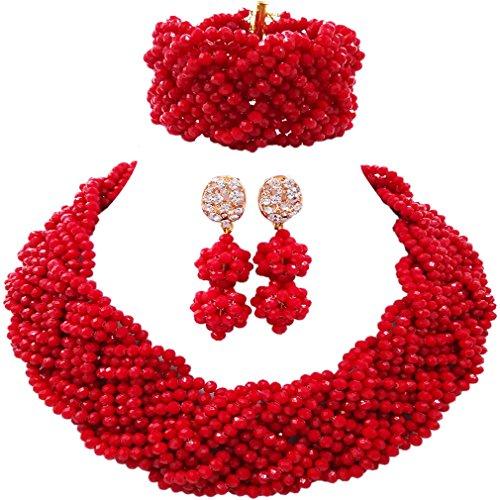 Laanc 10/couches Rouge et blanc Corail du Nigeria africain Perles f/ête de mariage parures
