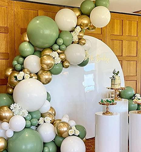137pcs salvia verde blanco oro DIY globo arco arco kit de ducha nupcial verde bebé salvia verde blanco y cromo globo guirnalda (verde)