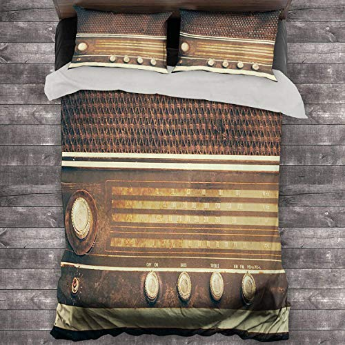 Miles Ralph Vintage Decor Duvet Cover Old Antique Retro 60s Radio Music Player Loudspeakers Buttons Image Bedding Duvet Cover 68'x86' inch Brown and White