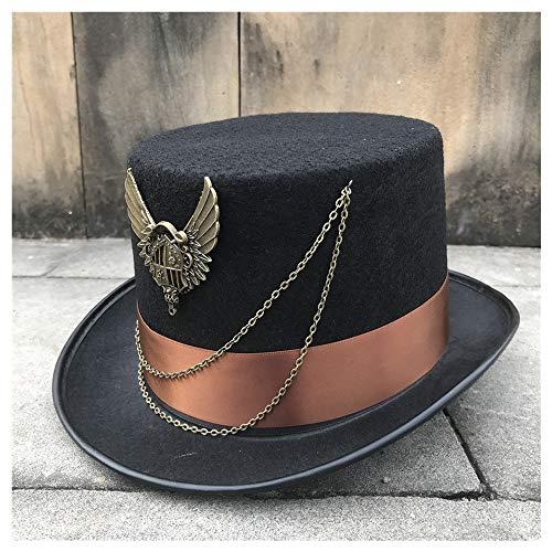 Accesorios Sombrero de ala Ancha Diario Bombín Tamaño 57 CM 2019 Nuevo Unisex Hombres Mujeres Hecho a Mano Steampunk Top Hat Stage Magic Hat Cosplay Hat (Color : Black, Size :...