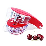 FAVOLOOK Cherry Pitter, 6-Cherries Pitter Olive Stoner with Pit and Juice Container, Stainless Steel Multiple Fruit Core Remover Tool, Red