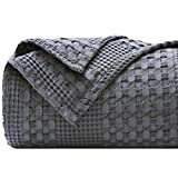 PHF 100% Cotton Waffle Weave Blanket King Size 108'x90' for Home Decorations - Textured, Breathable, Skin-Friendly, Moisture Absorption Blanket for All Season - Perfect for Couch Bed Sofa Dark Grey