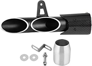 Exhaust Pipe, 51mm Universal Motorcycle Slip on Exhaust Muffler Rear Pipe Glossy Black Exhaust Tailpipe