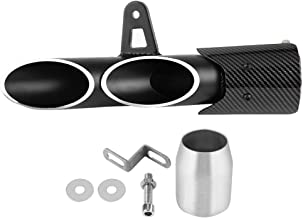Suuonee Motorized Exhaust Terminal, Universal Glossy Black 51mm Motorcycle Slip on Exhaust Muffler Rear Pipe Tailpipe