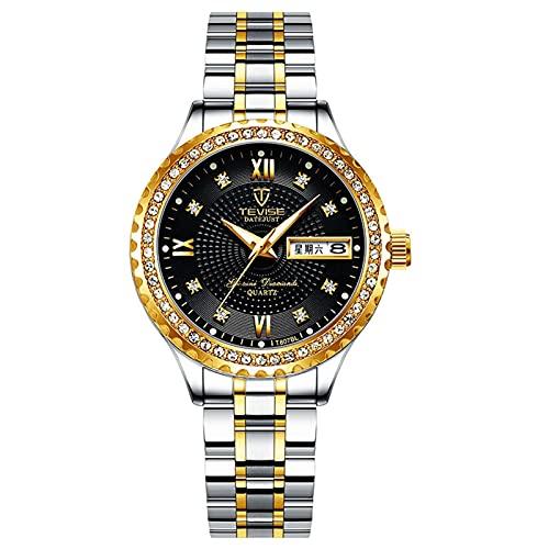 JTTM Hombre Reloj Impermeable Acero Inoxidable Cuarzo Analógico Relojes Moda Deportivos Calendario Reloj para Hombre,Between Gold and Black