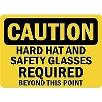 ハード帽子と安全メガネが必要です メタルポスタレトロなポスタ安全標識壁パネル ティンサイン注意看板壁掛けプレート警告サイン絵図ショップ食料品ショッピングモールパーキングバークラブカフェレストラントイレ公共の場ギフト