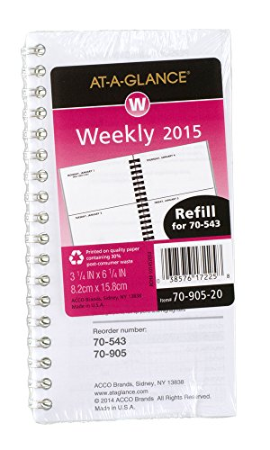 At-A-Glance Weekly Planner Compact Refill 2015 for 70-543, 3.25 x 6.25 Inches Page Size (70-905-20)
