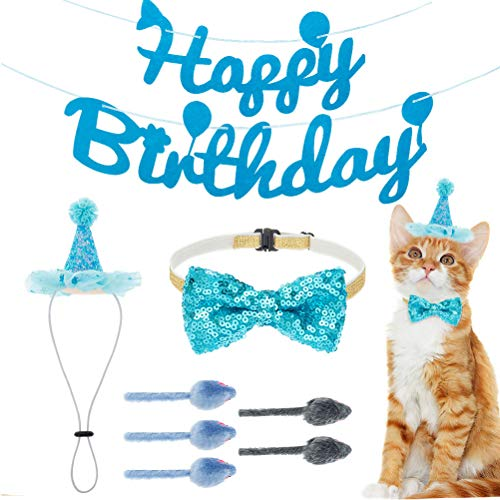 KOOLTAIL Cat Birthday Party Set - Adjustable Cat Birthday Hat, Bow Tie Collar and Banner Flag Decorations, Mouse Toys with Rattle Noise Interactive Fetch Games for Cats Kittens