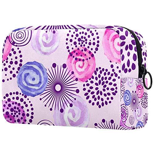 Trousse de toilette portable personnalisée pour femme - Sac à main - Organisateur de voyage - Violet lilas et rose