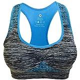 Keepmove Women's Seamless Sports Bra High Impact Pocket Yoga Bras Zero-Binding Underwear #2047(Blue,Medium)