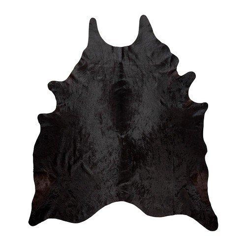 """IKEA koldby """"vache"""" environ 3,2 4,5qm en cuir à fourrure solide et durable pour mur comme tapis ou la décoration marron ou noir (noir)"""
