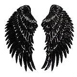 Millya - Parche para planchar de alas de lentejuelas bordadas, parche de costura, emblema, hazlo tú misma, parche artesanal para la decoración de la ropa,1 par, plata, negro, talla única