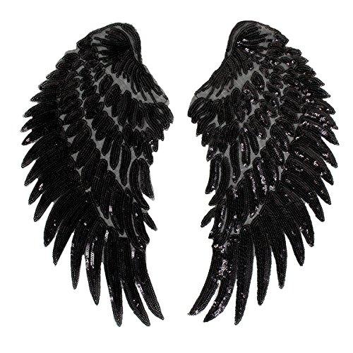 Milya Aufnäher Bügelbild Aufbügler Bügeleisen auf Patches Applikation Engel Flügel Muster 2er für T-Shirt Jeans Kleidung Taschen, Schwarz