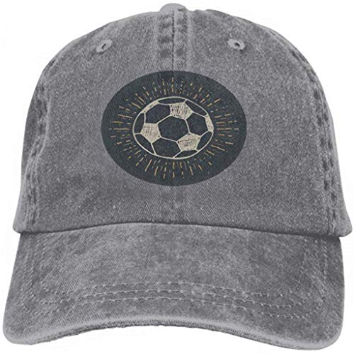 Hoklcvd Baseball Caps Cowboy Hats Sun Hats Vintage Label Hand Drawn Football Soccer Ball Sketch Grunge Gray Comfortable12148