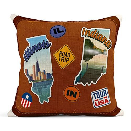 Kinhevao Cojín Otoño Illinois e Indiana Viajes Atracciones escénicas Texto Retro en Maleta Vintage Insignia Cojín de Lino Almohada Decorativa para el hogar