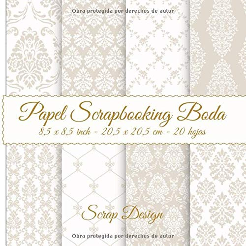 Papel Scrapbooking Boda 8,5 x 8,5 inch - 20,5 x 20,5 cm - 20 hojas