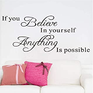 If You Believe In Yourself Everything Is Possible Black English Letters Wall Decal Sticker