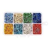 Pandahall£¬Canutillos de cristal, abalorios de la semilla, plata forrado, color mezclado, 6x1.8 mm, agujero: 0.6 mm; sobre 103 g / caja