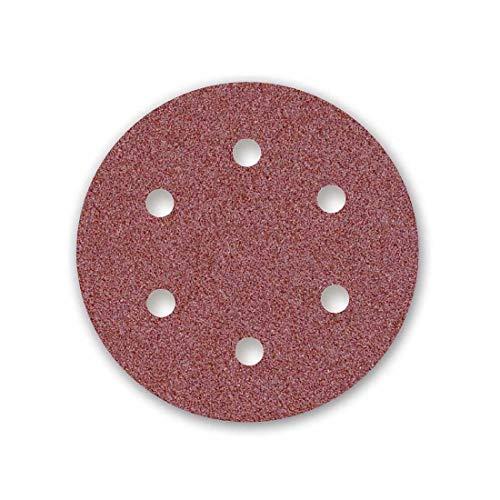 MENZER Red Discos Abrasivos con Velcro, 150 mm, 6 Agujeros, Grano 80, para Lijadoras Roto Orbitales, Corindón Normal (50 Piezas)