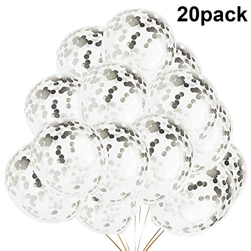20 Pieces Silver Confetti Balloons, 12 inch Latex Birthday Party Balloons For Party Decorations Wedding Decorations And Proposal (Silver)