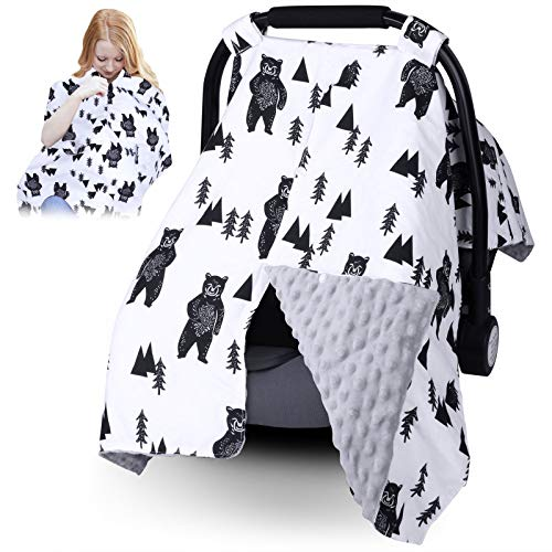 Infant Car Seat Canopy for Baby Boys or Girls - 2 in 1 Car Seat Covers for Babies - Nurisng Cover Up for New Mom - Super Warm Baby Carrier Cover