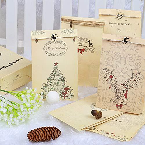 Kesote 12 Sacchetti Vintagi di Natale 12 Buste di Natale + 12 Adesivi di Tenuta + 2 Ciondoli + 1 Corda di Canapa, Busta di Carta per Regalo, Caramelle, Biscotti, 22 x 12 x 6cm