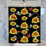 Gelbe Sonnenblumen fliegende Bienen Marienkäfer Duschvorhang, 183 x 214 cm, Badvorhang, Dekor, wasserdichter Polyester-Badezimmervorhang mit Haken, 183 x 214 cm
