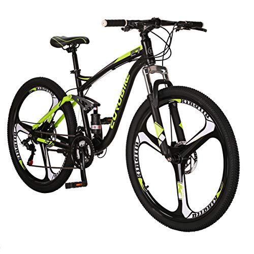 Eurobike JSYE7 Mountain Bike 27.5 Inches 3 Spoke Wheels Dual Suspension Mountain Bicycle 21 Speed MTB Black Yellow