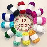 MAILIER - Hilo de lana para ganchillo, 12 unidades, varios colores, lana para tejer, ovillo de ganchillo, ovillo para tejer, tejer, tela, camisetas, para hacer manualidades