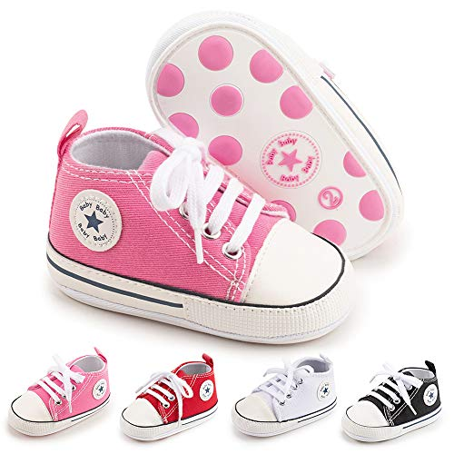 BiBeGoi Baby-Sneaker für Jungen und Mädchen, aus Segeltuch, hohe Schnürung, Freizeitschuhe für Neugeborene, Krippenschuhe, Lauflernschuhe, Schwarz - B01 Pink mit Gummisohle - Größe: 12-18 Monate
