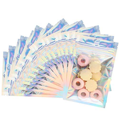 Paquete de 100 bolsas Mylar con cierre de cremallera, mini bolsa resellable a prueba de olores para granos de café, dulces, galletas, nueces, muestra de jabón