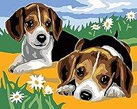 アダルトデジタルペインティングキット、2匹の犬10大人と子供の初心者の絵画、Diyテクスチャデジタル絵画、ホリデーギフトに使用16X20インチに適しています-2