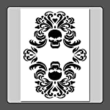 9 X 12 inch Gothic Double Skull Damask Stencil Template Floral/Halloween/Decor/Painting