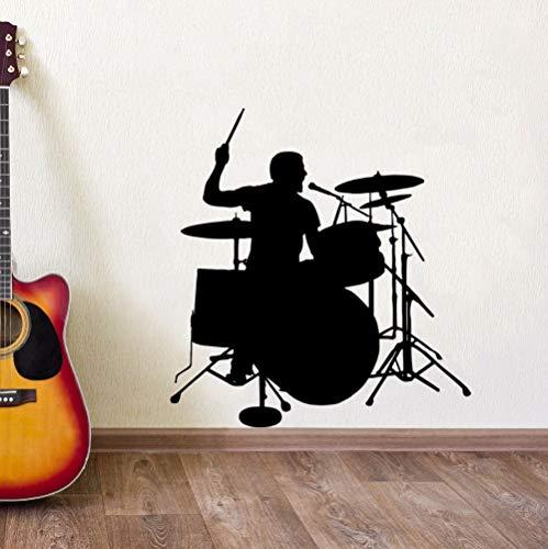 JXFM 63x67cm DIY benutzerdefinierte Name und Farbe 3D Schlagzeuger Silhouette Wandaufkleber Drum Player Wandtattoo Musikzimmer Dekoration entfernbare Vinyl Wandkunst Wandbild Trommel Wandplakat