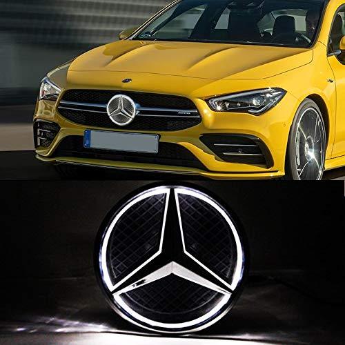 LED Emblem for Merc des Be 2013-2015,Car Front Grille Badge, Drive Brighter Illuminated Logo Hood Star DRL for Mercedes Benz A B C E R GLK ML GL CLA CLS Class - White Light (White)